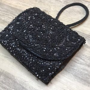Beaded sequins Vintage purse black